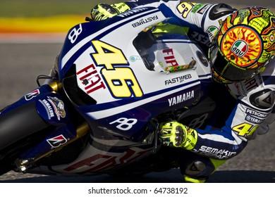 VALENCIA, SPAIN - NOVEMBER 6: Valentino Rossi in motogp Grand Prix of the Comunitat Valenciana, Ricardo Tormo Circuit of Cheste, Spain on november 6, 2010