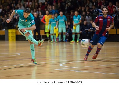 VALENCIA, SPAIN - NOVEMBER 8th: (L) Dyego during Spanish King Cup match between Levante UD FS and FC Barcelona at Cabanyal Stadium on November 8, 2016 in Valencia, Spain