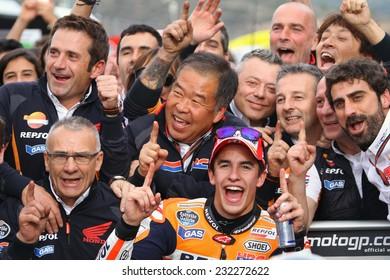 VALENCIA - SPAIN, NOVEMBER 9: Spanish Honda rider Marc Marquez wins the MotoGP race at 2014 Generali MotoGP of Valencia on November 9, 2014