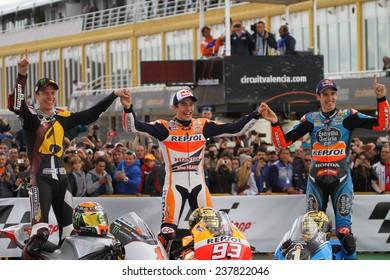 VALENCIA - SPAIN; NOVEMBER 9: The three MotoGP champions 2014 together at 2014 Generali MotoGP of Valencia on November 9, 2014