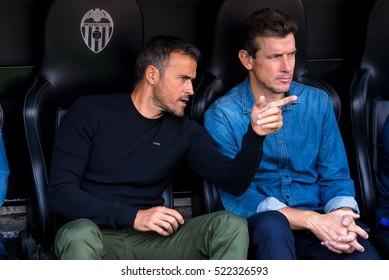 VALENCIA, SPAIN - OCT 22: The coach Luis Enrique at the La Liga match between Valencia CF and FC Barcelona at Mestalla on October 22, 2016 in Valencia, Spain.