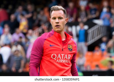 VALENCIA, SPAIN - OCT 22: Marc Andre Ter Stegen plays at the La Liga match between Valencia CF and FC Barcelona at Mestalla on October 22, 2016 in Valencia, Spain.