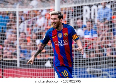 VALENCIA, SPAIN - OCT 22: Messi celebrates a goal at the La Liga match between Valencia CF and FC Barcelona at Mestalla on October 22, 2016 in Valencia, Spain.