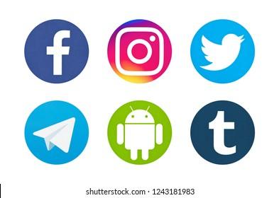 Valencia, Spain - October 03, 2018: Collection of popular social media logos printed on paper: Facebook, Instagram, Telegram, Twitter, Android, Tumblr.