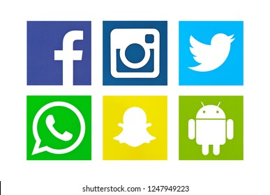 Valencia, Spain - October 03, 2018: Collection of popular social media logos printed on paper: Facebook, Instagram, Twitter, WhatsApp, Snapchat, Android.