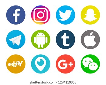 Valencia, Spain - October 03, 2018: Collection of popular social media logos printed on paper: Facebook, Instagram, Telegram, Twitter, Snapchat, Android, Tumblr, Apple, Ebay, Periscope, Google Plus.