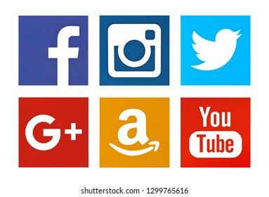 Valencia, Spain - October 03, 2018: Collection of popular social media logos printed on paper: Facebook, Instagram, Twitter, Google Plus, Amazon, YouTube.