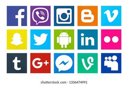 Valencia, Spain - October 03, 2018: Collection of popular social media logos printed on paper: Facebook, Instagram,Blogger,Vimeo, Snapchat,Twitter,Android,Linkedin,Flickr,Tumblr,Google Plus,Viber,Vine