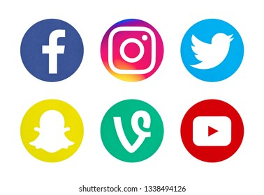 Valencia, Spain - October 03, 2018: Collection of popular social media logos printed on paper: Facebook, Instagram, Twitter, Snapchat, Vine, YouTube.