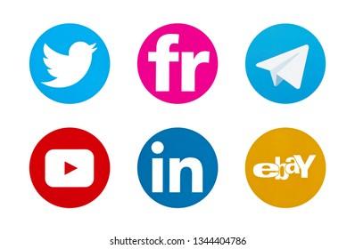 Valencia, Spain - October 03, 2018: Collection of popular social media logos printed on paper: Twitter, Flickr, Telegram, YouTube, Linkedin, Ebay.