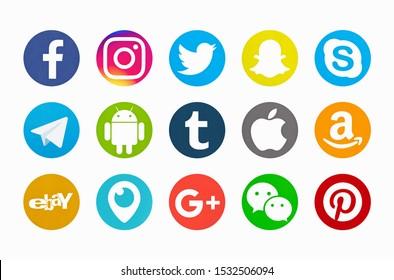 Valencia, Spain - October 03, 2018:   Collection of popular social media logos printed on paper: Facebook, Instagram, Telegram, Twitter, Snapchat, Android, Tumblr, Apple, Ebay,Periscope, Google Plus.