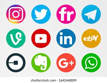 Valencia, Spain - October 03, 2019:  Collection of popular social media logos printed on paper: Instagram, Telegram, Twitter,  Ebay, Google Plus, LInkedin, YouTube, Uber,Evernote,WhatsApp, Flickr,Vine