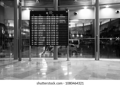 VALENCIA, SPAIN - OCTOBER 10, 2010: Passengers wait in modern Valencia Airport, Spain. With 4.9m passengers in 2010 it was the 10th busiest airport in Spain.