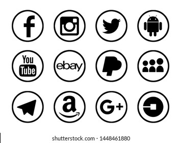 Valencia, Spain - October 10, 2018: Collection of popular social media logos printed on paper: Facebook, Instagram, Twitter,Android, Google Plus, Telegram, YouTube, Ebay, MySpace, Amazon, Uber