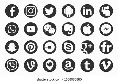 Valencia, Spain - October 10, 2018: Collection  of popular social media logos printed on paper: Facebook, Instagram, Twitter, Periscope, Pinterest,Android, Linkedin,WhatsApp,Viber,YouTube,WeChat,Apple