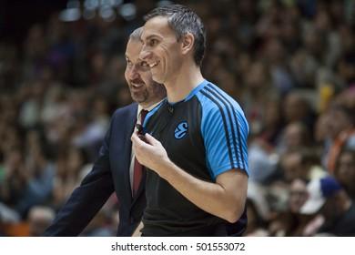 VALENCIA, SPAIN - OCTOBER 19th:Referee talks wit Jerusalem coach during Eurocup match between Valencia Basket and Hapoel Bank Yahav Jerusalem at Fonteta Stadium on October 19, 2016 in Valencia, Spain