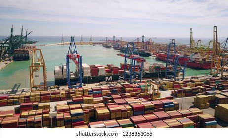 VALENCIA, SPAIN - OCTOBER 2, 2018. Aerial view of Mediterranean Shipping Company MSC ship and big port container terminal