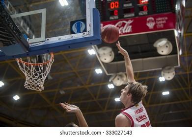 VALENCIA, SPAIN - OCTOBER 20: Henk Norel during EUROCUP match between Valencia Basket Club and CAI Zaragozaat Fonteta Stadium on   October 20, 2015 in Valencia, Spain
