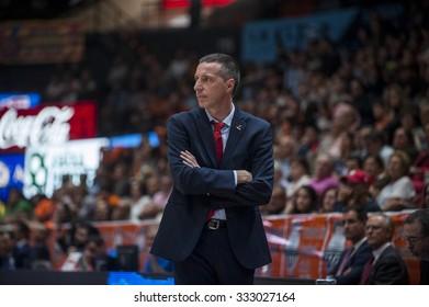 VALENCIA, SPAIN - OCTOBER 20: Joaquin Ruiz during EUROCUP match between Valencia Basket Club and CAI Zaragozaat Fonteta Stadium on   October 20, 2015 in Valencia, Spain