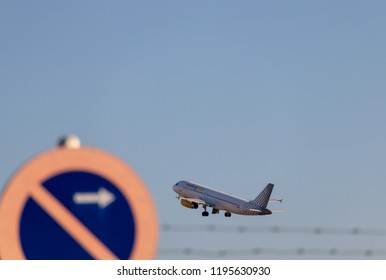 VALENCIA, SPAIN - OCTOBER 2018: Airplane of the Spanish company Vueling taking off.