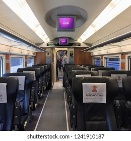 Valencia, Spain - October 22, 2017: The interior of AVE(Alta Velocidad Española), which is a high-speed rail service operated by Renfe, the Spanish national railway company.