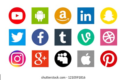 Valencia, Spain - October 28, 2017: Collection of popular social media logos printed on paper: Facebook, Android, Twitter, Pinterest, Amazon, Instagram, Linkedlin, YouTube, Tumblr, Snapchat.