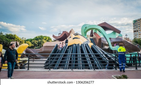 Valencia / Spain - October 28, 2018: The Gulliver Park, which is a large free playground for kids with the shape of the story of Gulliver, and it is located in the Garden of the Turia river.