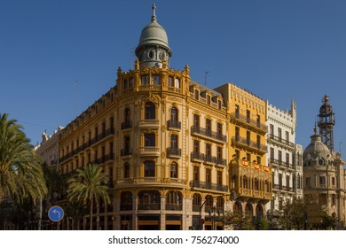 Valencia, Spain- October 3 2017 : view of some historic Buildings in downtown Valencia
