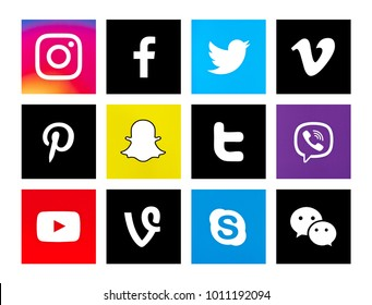 Valencia, Spain - October 31, 2017: Collection of popular social media logos printed on paper: Instagram, Facebook, Twitter, Skype, Pinterest, WeChat, Vimeo, YouTube, Viber, Snapchat, Vine.