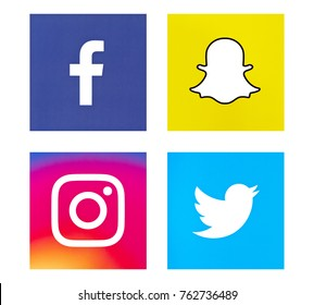 Valencia, Spain - October 31, 2017: Collection of popular social media logos printed on paper: Facebook, Snapchat, Instagram, Twitter.