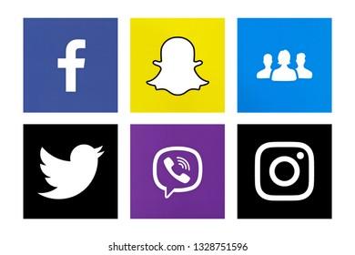Valencia, Spain - October 31, 2018: Collection of popular social media logos printed on paper: Facebook, Snapchat, Instagram, Twitter, Viber