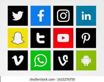 Valencia, Spain - October 31, 2019: Collection of popular social media logos printed on paper: Twitter, Facebook, Instagram, LInkedin, Snapchat, YouTube, Pinterest, Vimeo, WhatsApp, Android. Vine.