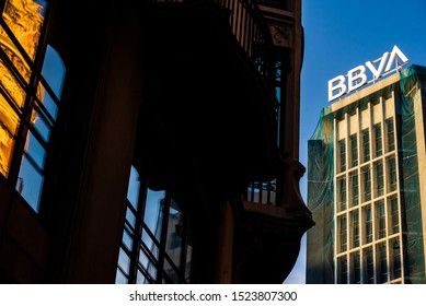 Valencia, Spain - October 4, 2019: View of the financial buildings of Valencia, in the foreground the new BBVA bank logo