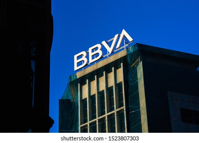 Valencia, Spain - October 4, 2019: Logo on a building of the new corporate image of the BBVA bank.
