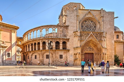 Valencia, Spain - October 6, 2018: Cathedral of Valencia on the Square of the Blessed Virgin.