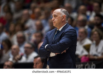 VALENCIA, SPAIN - OCTOBER 6: Pablo Laso during ENDESA LEAGUE match between Valencia Basket Club and Real Madrid at Fonteta Stadium on   October 6, 2016 in Valencia, Spain