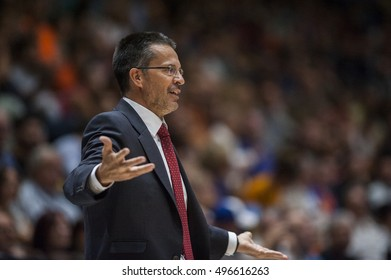 VALENCIA, SPAIN - OCTOBER 6: Pedro Martinez during ENDESA LEAGUE match between Valencia Basket Club and Real Madrid at Fonteta Stadium on   October 6, 2016 in Valencia, Spain