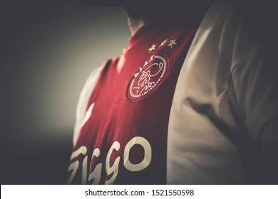 VALENCIA, SPAIN - OCTUBER 2: Ajax soccer shirt during UEFA Champions League match between Valencia CF and AFC Ajax at Mestalla Stadium on Octuber 2, 2019 in Valencia, Spain