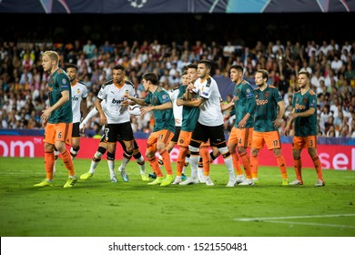 VALENCIA, SPAIN - OCTUBER 2: All players during UEFA Champions League match between Valencia CF and AFC Ajax at Mestalla Stadium on Octuber 2, 2019 in Valencia, Spain