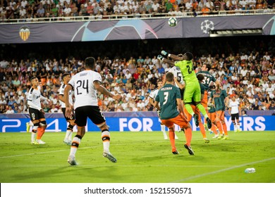 VALENCIA, SPAIN - OCTUBER 2: Corner kick during UEFA Champions League match between Valencia CF and AFC Ajax at Mestalla Stadium on Octuber 2, 2019 in Valencia, Spain