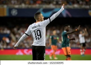 VALENCIA, SPAIN - OCTUBER 2: Rodrigo Moreno during UEFA Champions League match between Valencia CF and AFC Ajax at Mestalla Stadium on Octuber 2, 2019 in Valencia, Spain