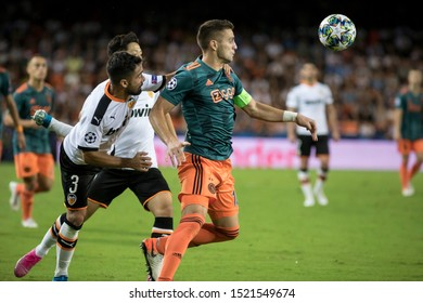 VALENCIA, SPAIN - OCTUBER 2: Tadic with ball during UEFA Champions League match between Valencia CF and AFC Ajax at Mestalla Stadium on Octuber 2, 2019 in Valencia, Spain