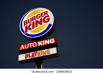 Valencia, Spain; Octuber 29 2019: Burger King Logo and Restaurant, Burger King is one of the most famous fast food companies specializing in hamburgers around the world