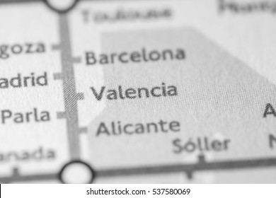 Valencia, Spain on a geographical map.