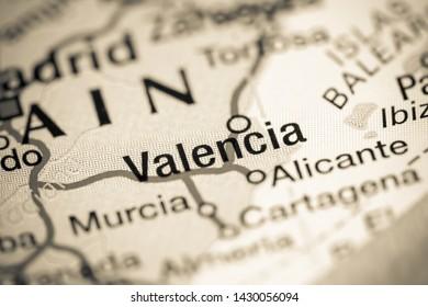 Valencia. Spain on a map