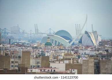 Valencia, Spain - Panoramic aerial view of the city of art and science with in the background the port of Valencia at dawn with blue sky