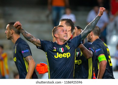 VALENCIA, SPAIN - SEP 19: Bernardeschi  celebrates the victory at the UCL match between Valencia CF and Juventus FC at Mestalla on September 19, 2018 in Valencia, Spain.