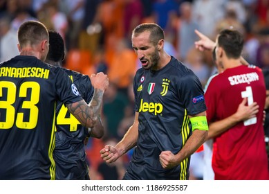 VALENCIA, SPAIN - SEP 19: Chiellini celebrates the victory at the UCL match between Valencia CF and Juventus FC at Mestalla on September 19, 2018 in Valencia, Spain.
