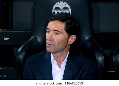 VALENCIA, SPAIN - SEP 19: The coach Marcelino Garcia Toral at the UCL match between Valencia CF and Juventus FC at Mestalla on September 19, 2018 in Valencia, Spain.