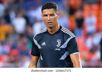 VALENCIA, SPAIN - SEP 19: Cristiano Ronaldo plays at the UCL match between Valencia CF and Juventus FC at Mestalla on September 19, 2018 in Valencia, Spain.